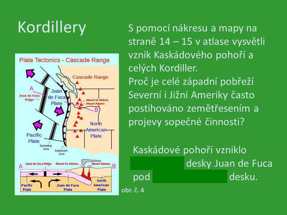 Kordillery S pomocí nákresu a mapy na straně 14 – 15 v atlase vysvětli vznik Kaskádového pohoří a celých Kordiller.
