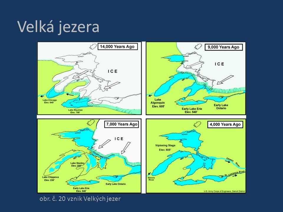 Velká jezera obr. č. 20 vznik Velkých jezer