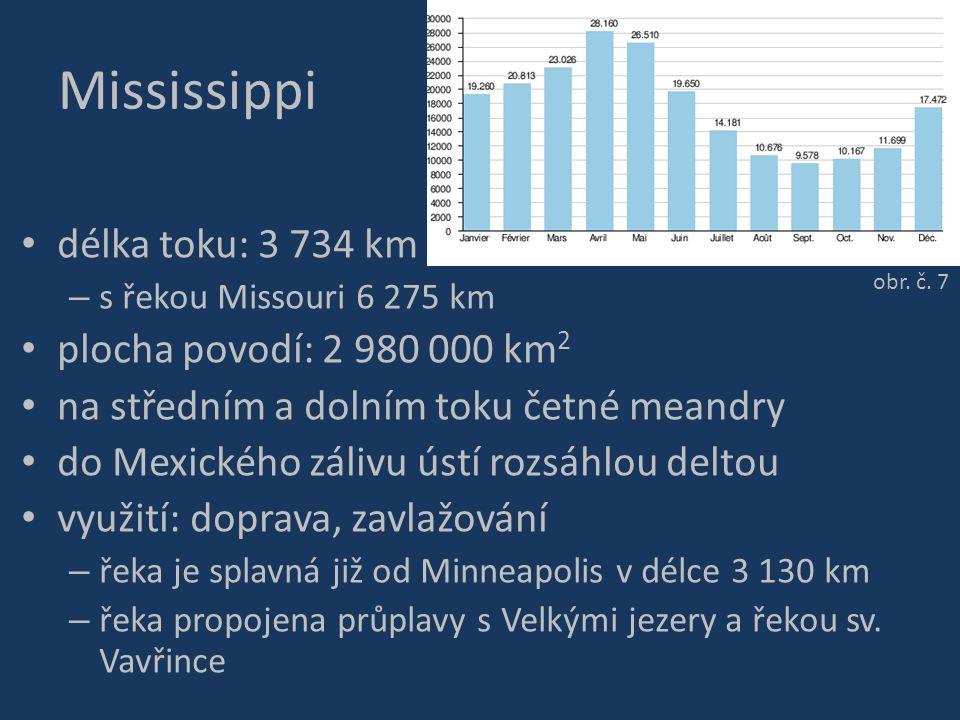 Mississippi délka toku: 3 734 km plocha povodí: 2 980 000 km2