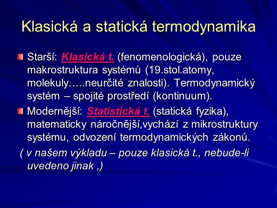 Klasická a statická termodynamika