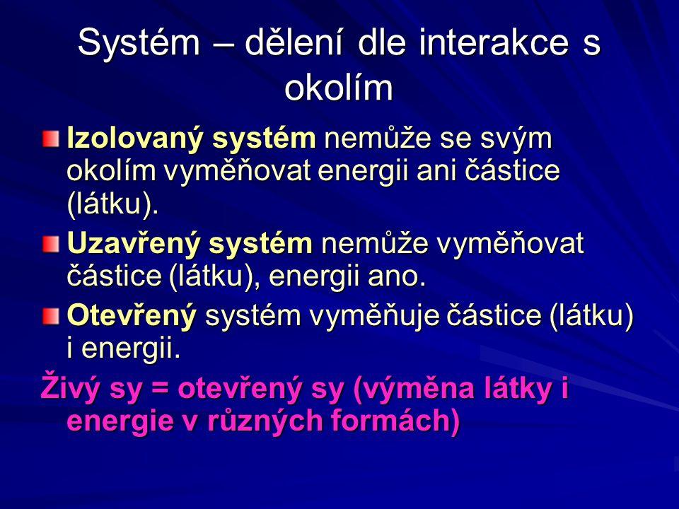 Systém – dělení dle interakce s okolím
