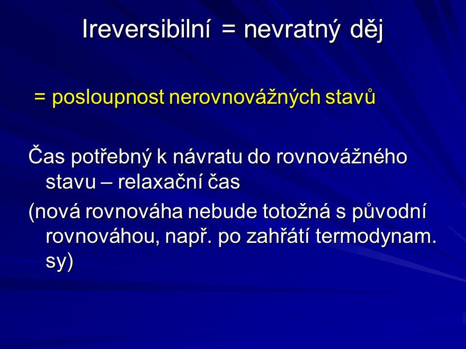 Ireversibilní = nevratný děj