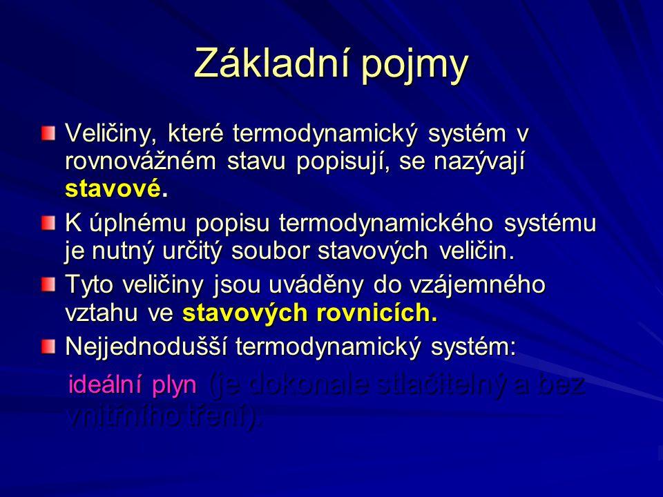 Základní pojmy Veličiny, které termodynamický systém v rovnovážném stavu popisují, se nazývají stavové.