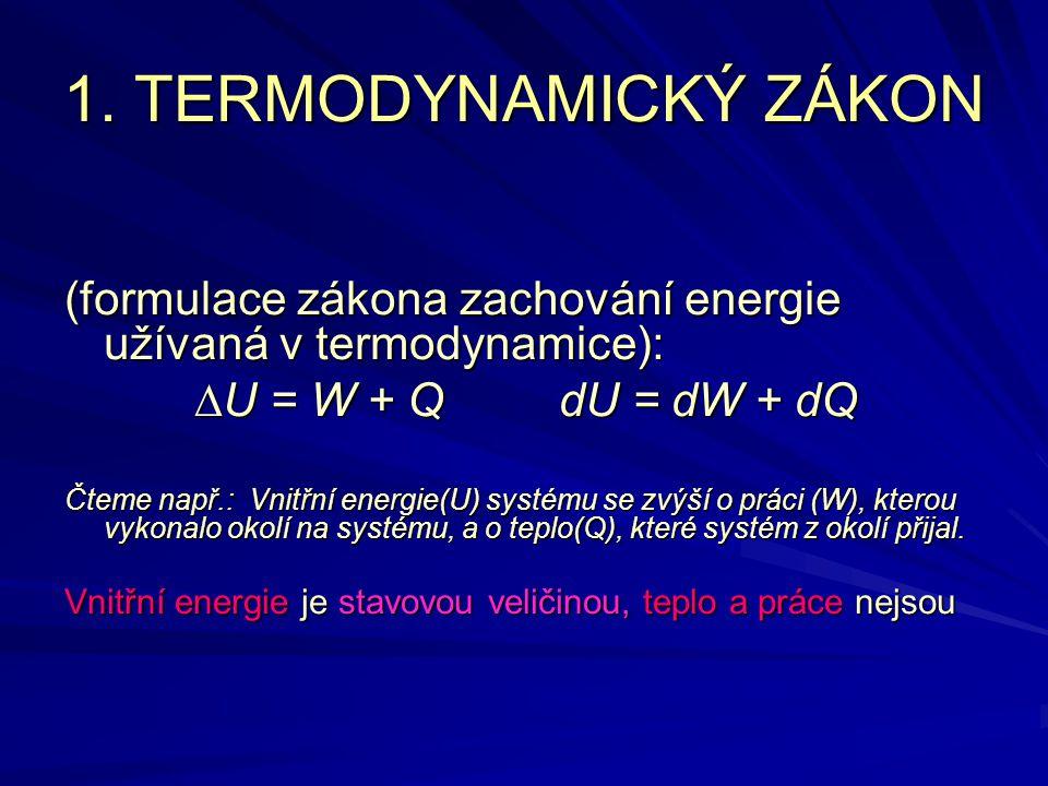 1. TERMODYNAMICKÝ ZÁKON (formulace zákona zachování energie užívaná v termodynamice): DU = W + Q dU = dW + dQ.