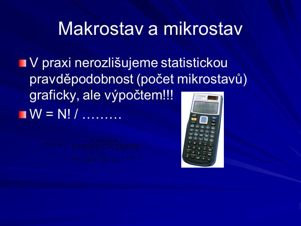 Makrostav a mikrostav V praxi nerozlišujeme statistickou pravděpodobnost (počet mikrostavů) graficky, ale výpočtem!!!