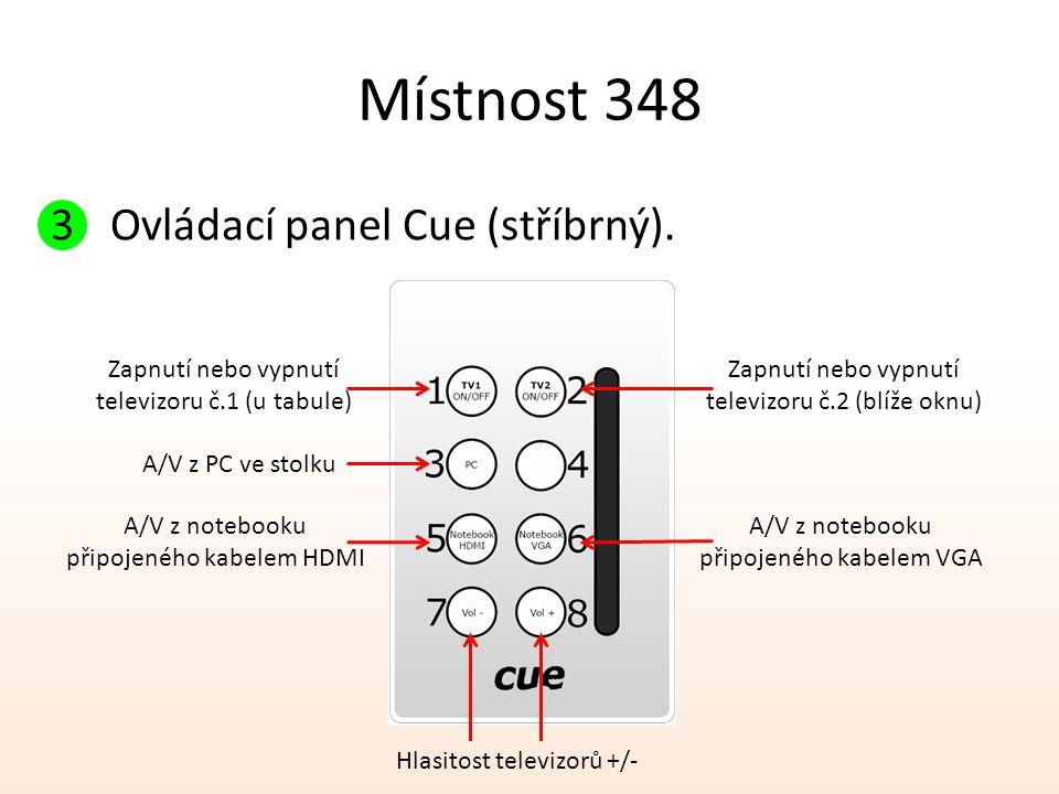 Místnost 348 Ovládací panel Cue (stříbrný). Zapnutí nebo vypnutí