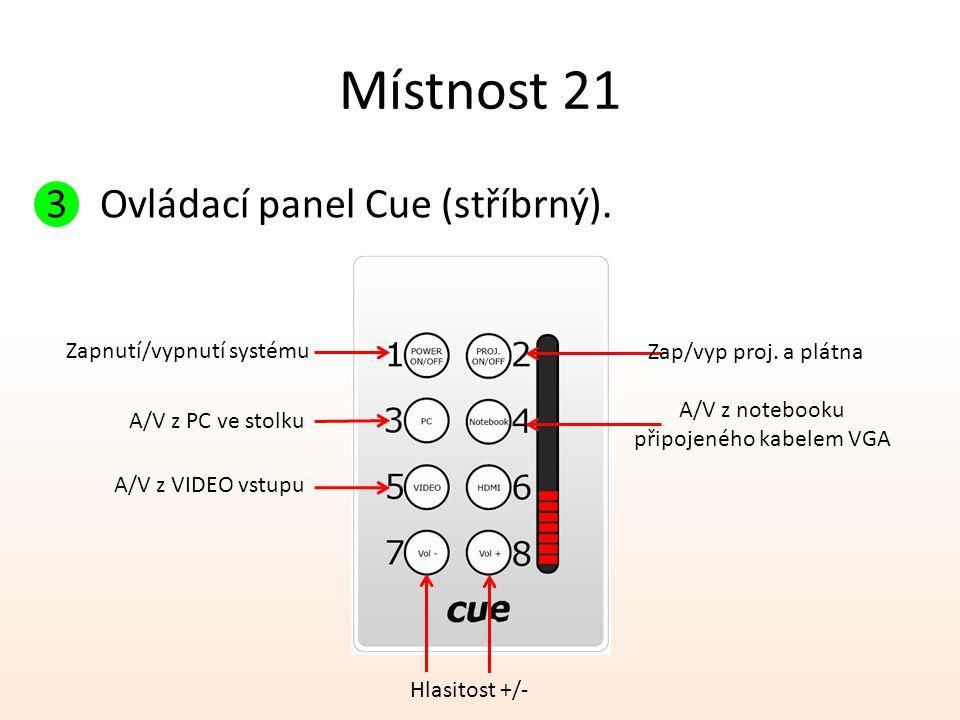 Místnost 21 Ovládací panel Cue (stříbrný). Zapnutí/vypnutí systému