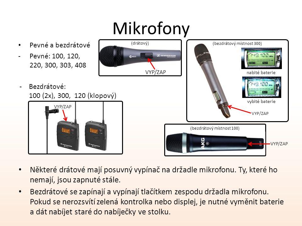 Mikrofony Pevné a bezdrátové. Pevné: 100, 120, 220, 300, 303, 408. (drátový) (bezdrátový místnost 300)