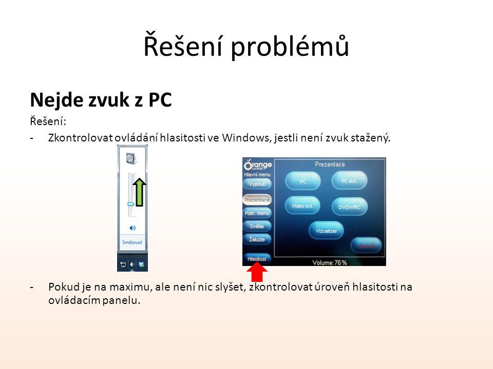 Řešení problémů Nejde zvuk z PC Řešení: