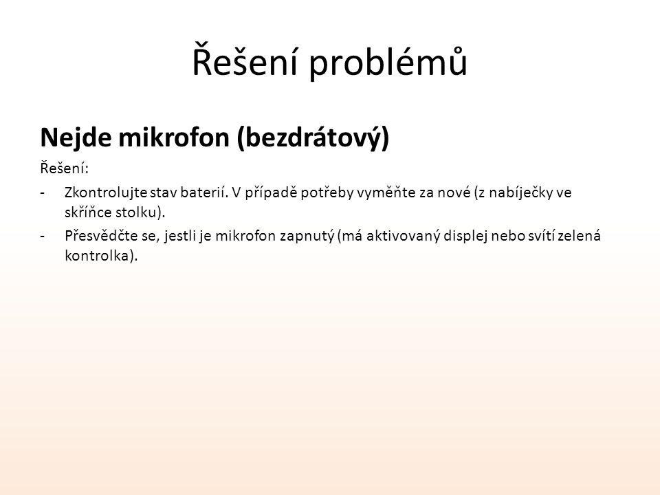 Řešení problémů Nejde mikrofon (bezdrátový) Řešení: