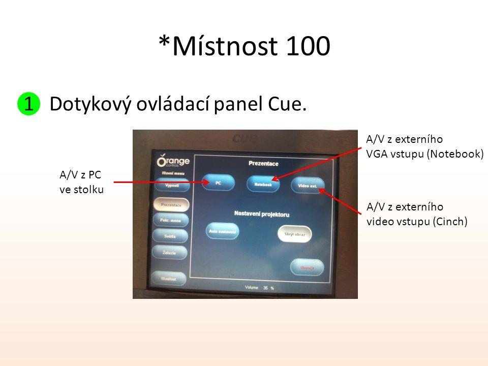 *Místnost 100 1 Dotykový ovládací panel Cue. A/V z externího