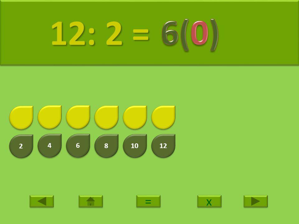 12: 2 = 6(0) 2 4 6 8 10 12 = x