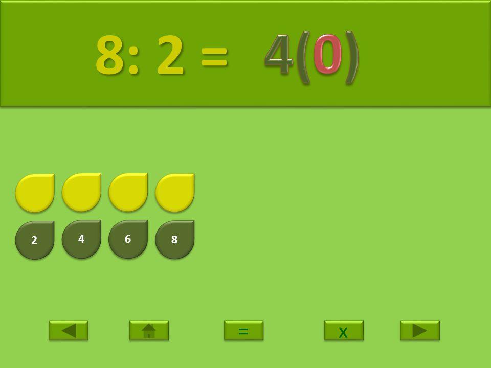 8: 2 = 4(0) 2 4 6 8 = x