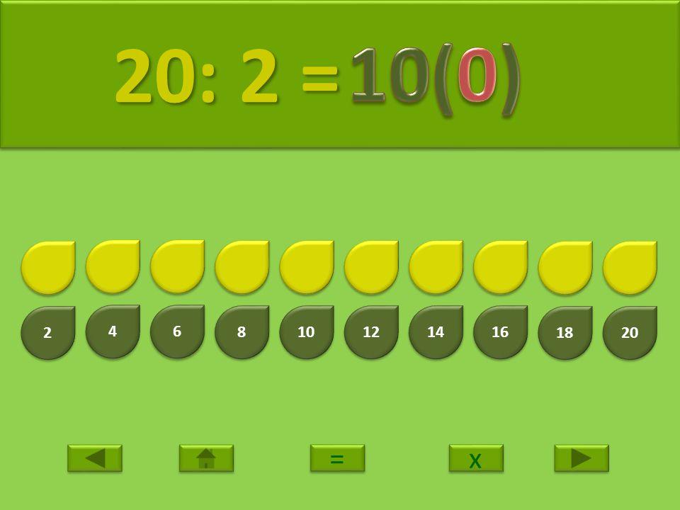 20: 2 = 10(0) 2 4 6 8 10 12 14 16 18 20 = x