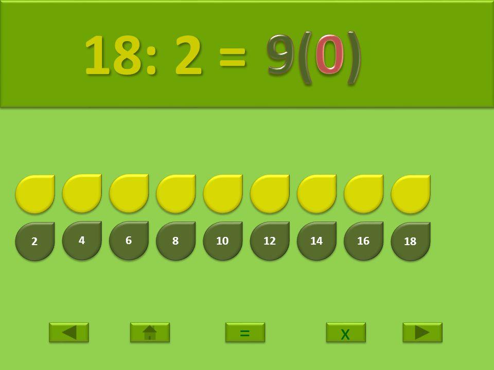 18: 2 = 9(0) 2 4 6 8 10 12 14 16 18 = x