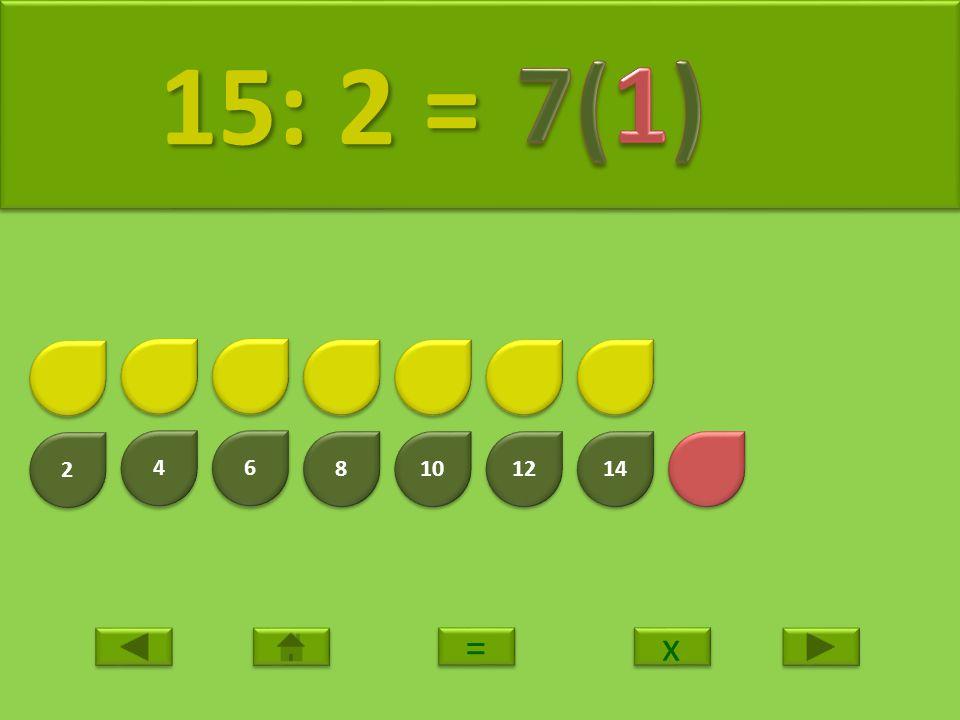 15: 2 = 7(1) 2 4 6 8 10 12 14 = x