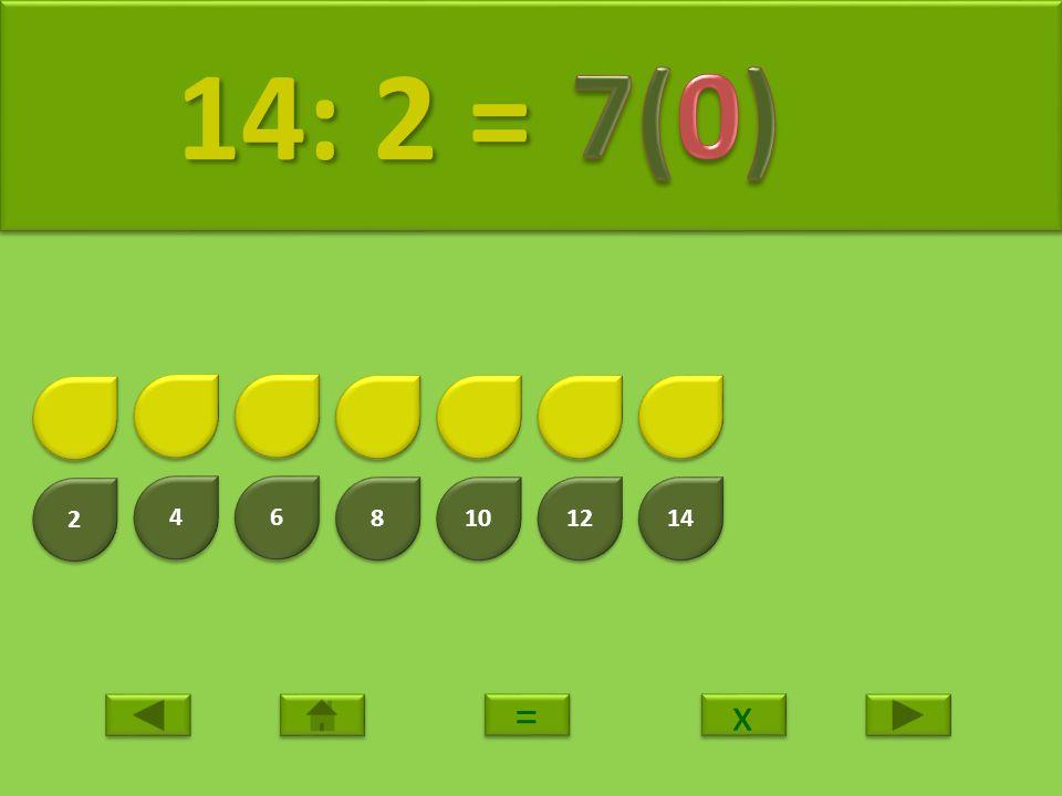 14: 2 = 7(0) 2 4 6 8 10 12 14 = x