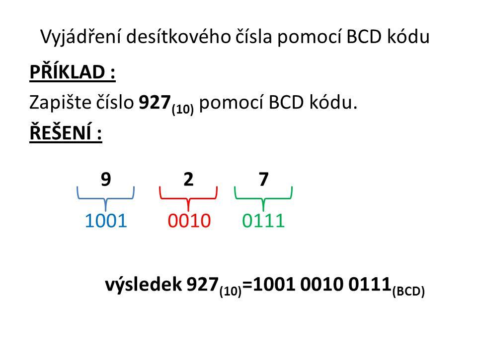 Vyjádření desítkového čísla pomocí BCD kódu