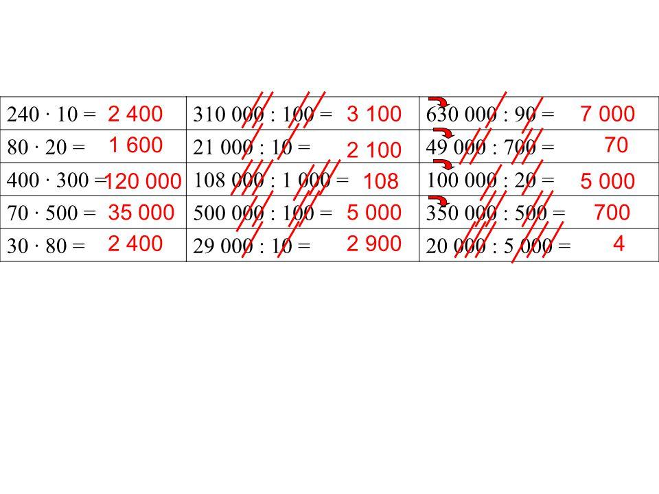 240 · 10 = 310 000 : 100 = 630 000 : 90 = 80 · 20 = 21 000 : 10 = 49 000 : 700 = 400 · 300 = 108 000 : 1 000 =