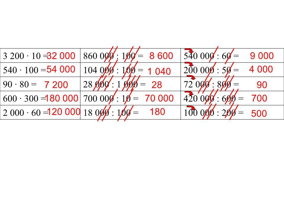 3 200 · 10 = 860 000 : 100 = 540 000 : 60 = 540 · 100 = 104 000 : 100 = 200 000 : 50 = 90 · 80 =