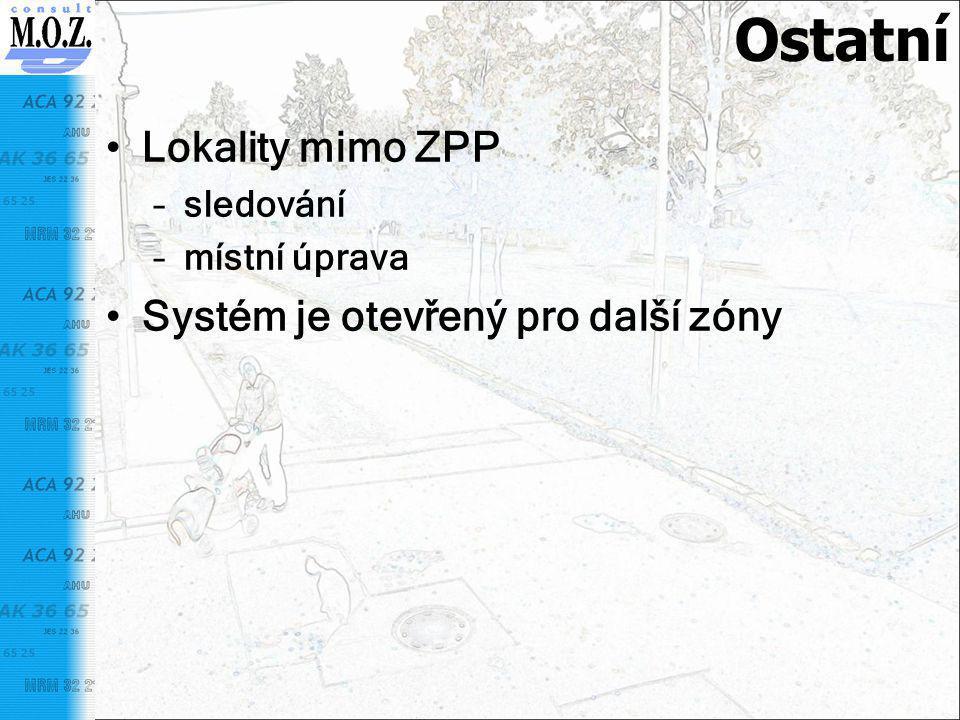 Ostatní Lokality mimo ZPP Systém je otevřený pro další zóny sledování