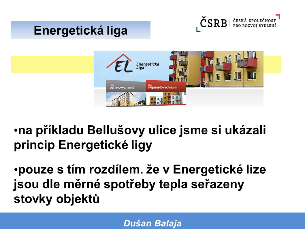 na příkladu Bellušovy ulice jsme si ukázali princip Energetické ligy