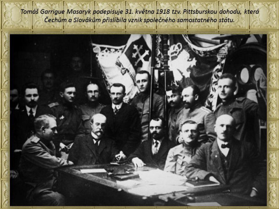 Tomáš Garrigue Masaryk podepisuje 31. května 1918 tzv