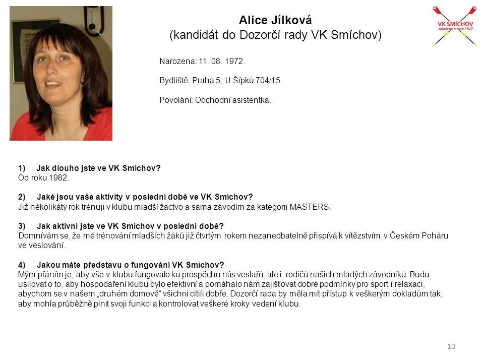 Alice Jílková (kandidát do Dozorčí rady VK Smíchov)