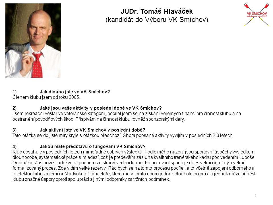 JUDr. Tomáš Hlaváček (kandidát do Výboru VK Smíchov)