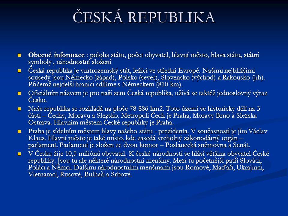 ČESKÁ REPUBLIKA Obecné informace : poloha státu, počet obyvatel, hlavní město, hlava státu, státní symboly , národnostní složení.