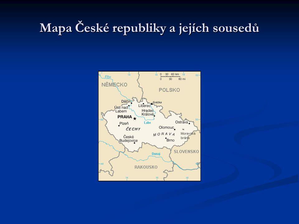 Mapa České republiky a jejích sousedů