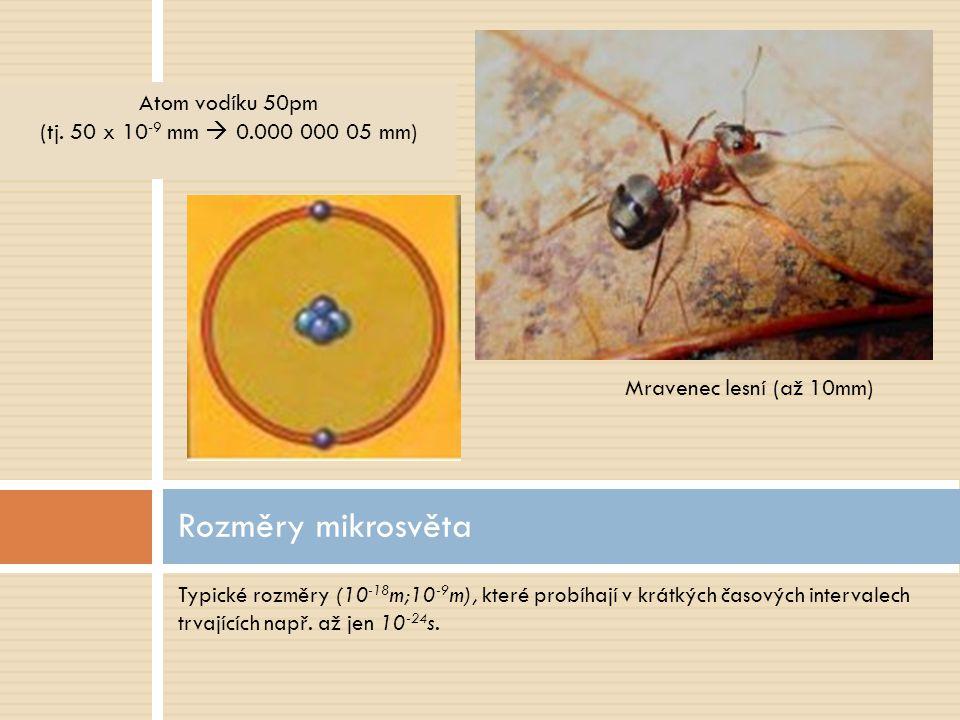 Rozměry mikrosvěta Atom vodíku 50pm