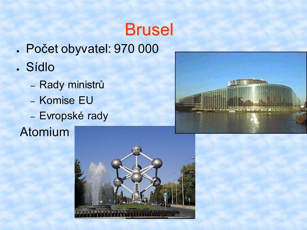 Brusel Počet obyvatel: 970 000 Sídlo Atomium Rady ministrů Komise EU