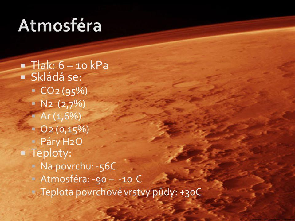Atmosféra Tlak: 6 – 10 kPa Skládá se: Teploty: CO2 (95%) N2 (2,7%)