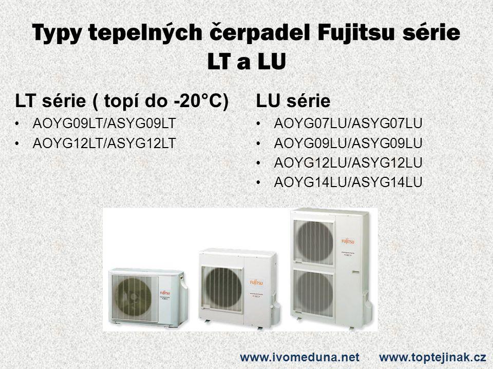 Typy tepelných čerpadel Fujitsu série LT a LU