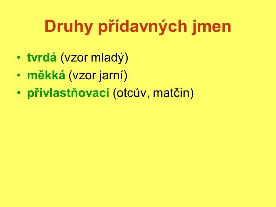 Druhy přídavných jmen tvrdá (vzor mladý) měkká (vzor jarní)