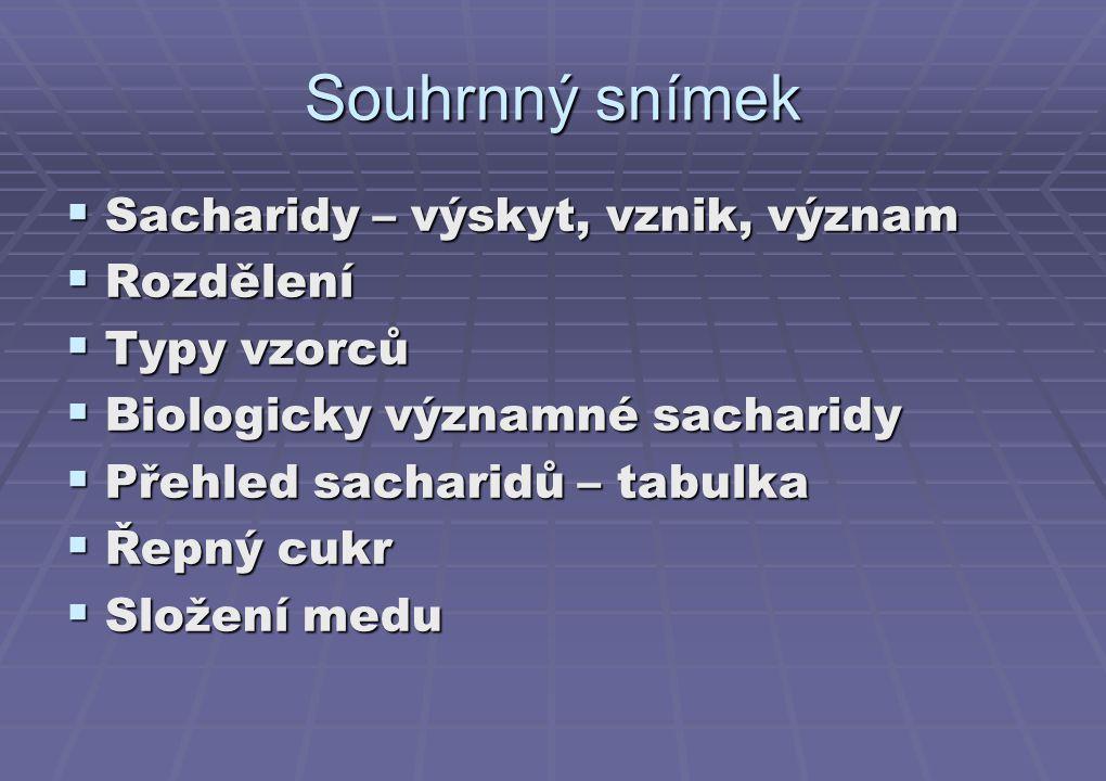 Souhrnný snímek Sacharidy – výskyt, vznik, význam Rozdělení