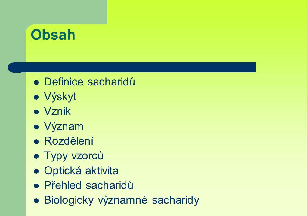 Obsah Definice sacharidů Výskyt Vznik Význam Rozdělení Typy vzorců