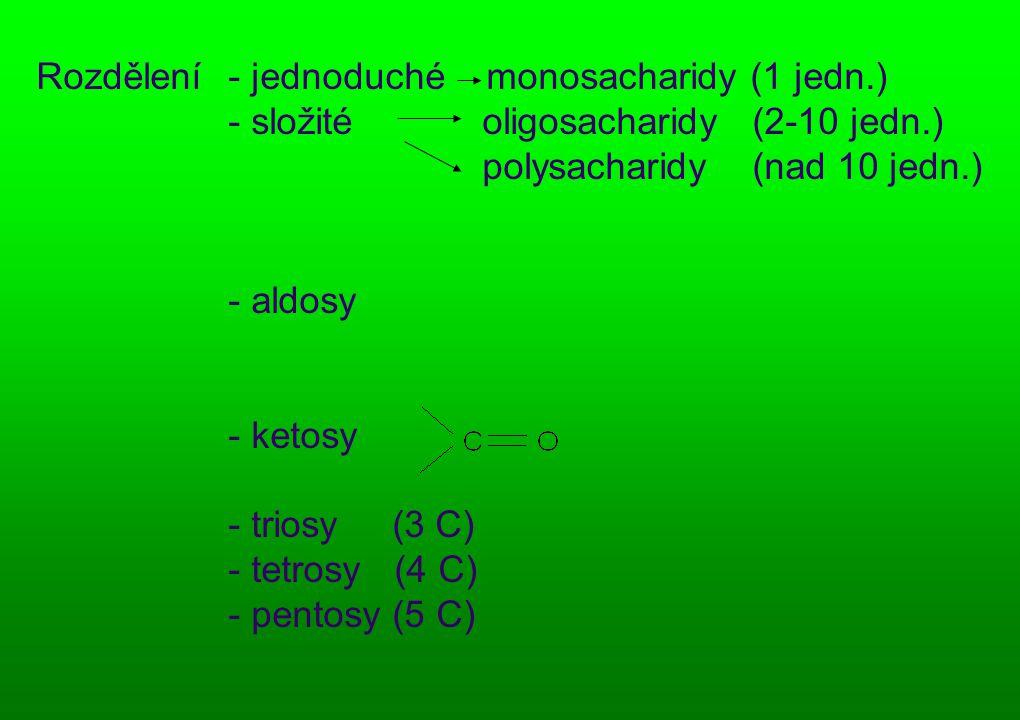 Rozdělení. - jednoduché monosacharidy (1 jedn. ). - složité