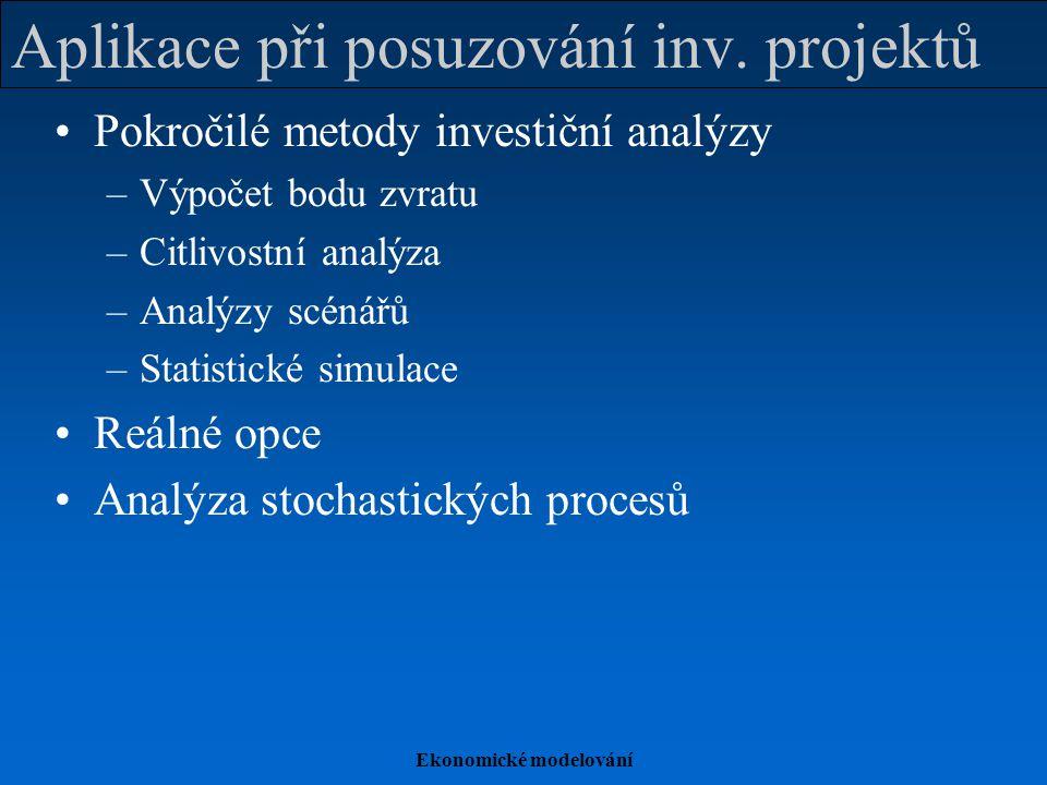 Aplikace při posuzování inv. projektů