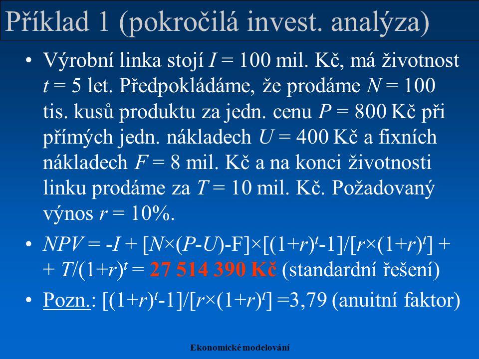 Příklad 1 (pokročilá invest. analýza)
