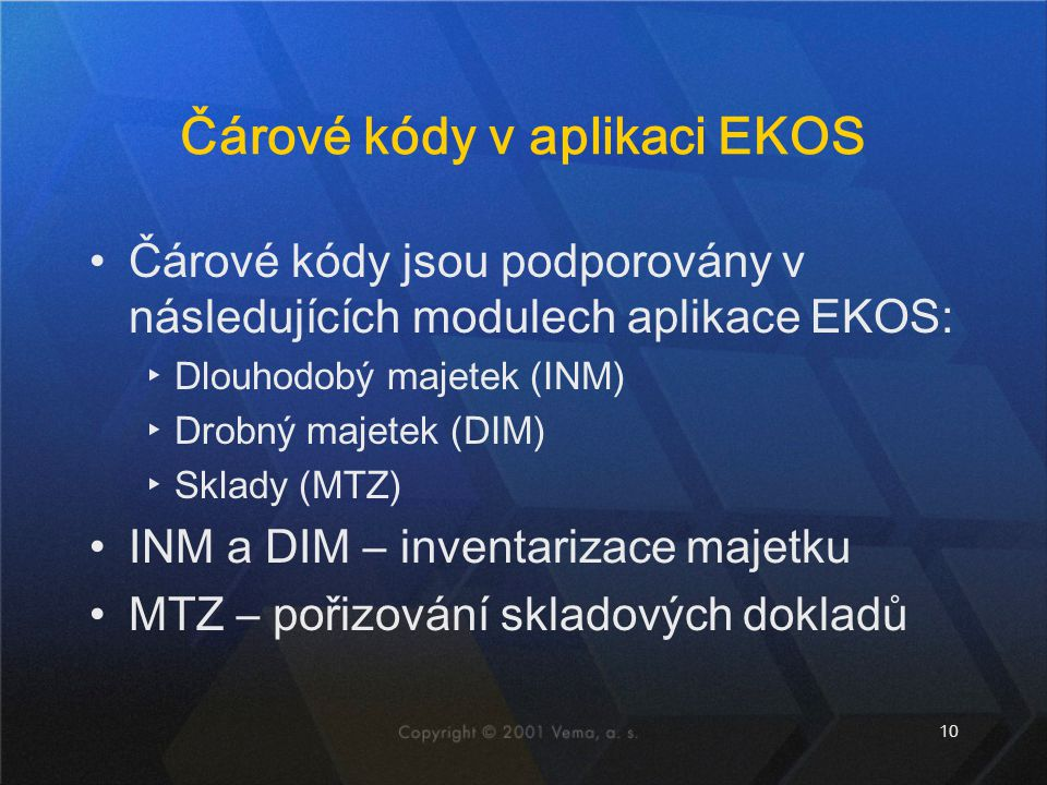 Čárové kódy v aplikaci EKOS