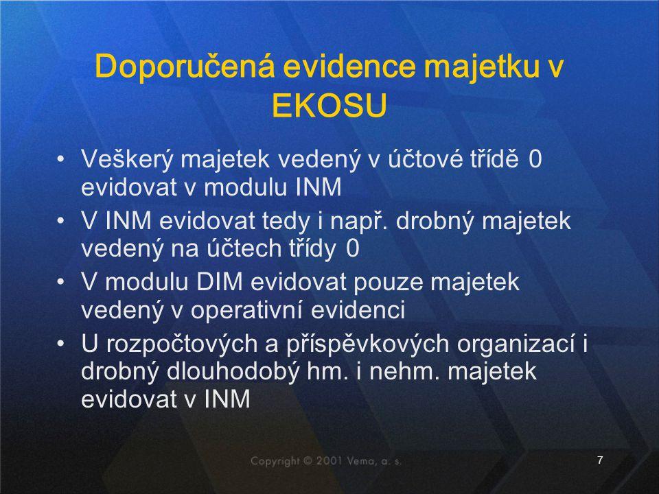 Doporučená evidence majetku v EKOSU