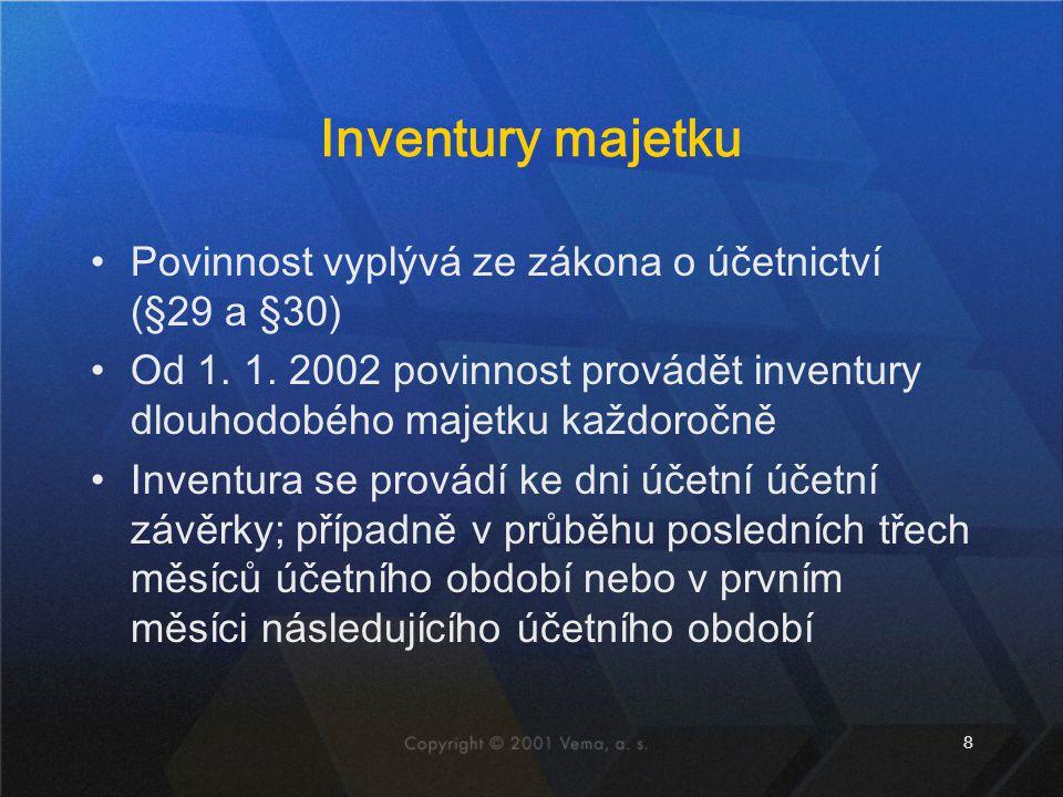 Inventury majetku Povinnost vyplývá ze zákona o účetnictví (§29 a §30)