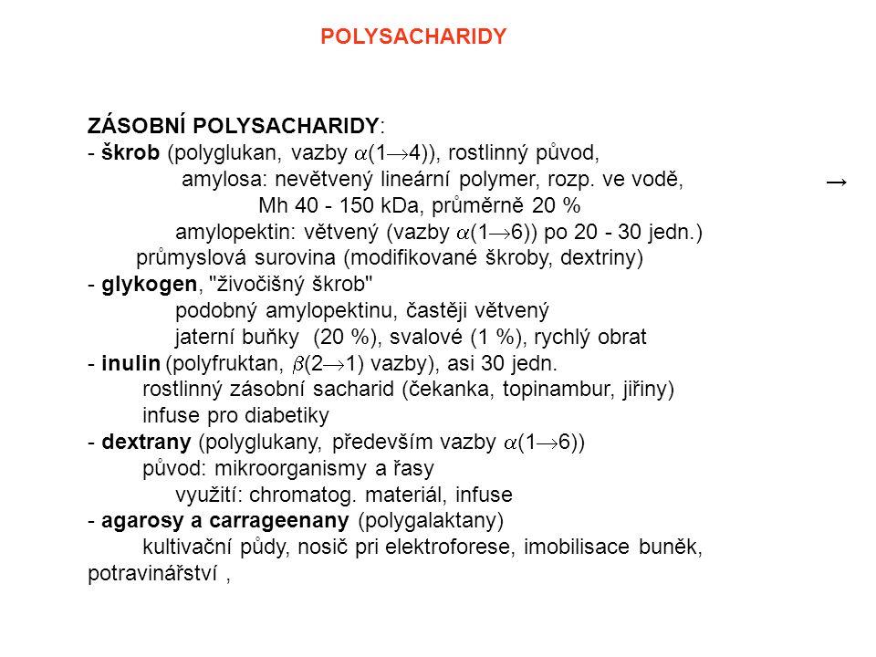 POLYSACHARIDY ZÁSOBNÍ POLYSACHARIDY: - škrob (polyglukan, vazby (14)), rostlinný původ, amylosa: nevětvený lineární polymer, rozp. ve vodě,