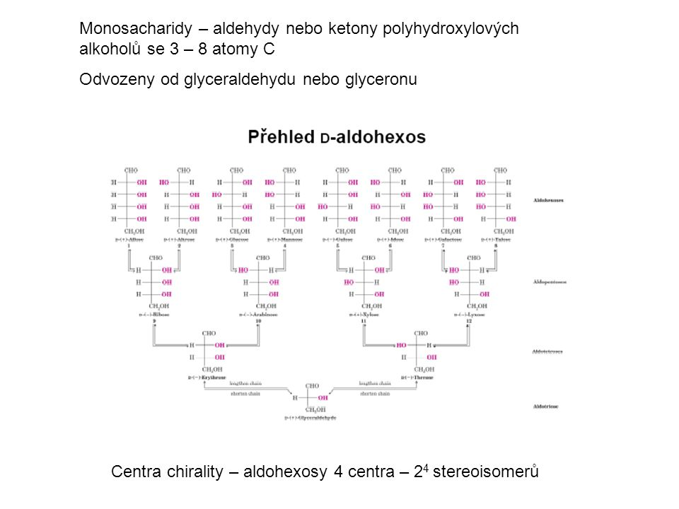 Monosacharidy – aldehydy nebo ketony polyhydroxylových alkoholů se 3 – 8 atomy C