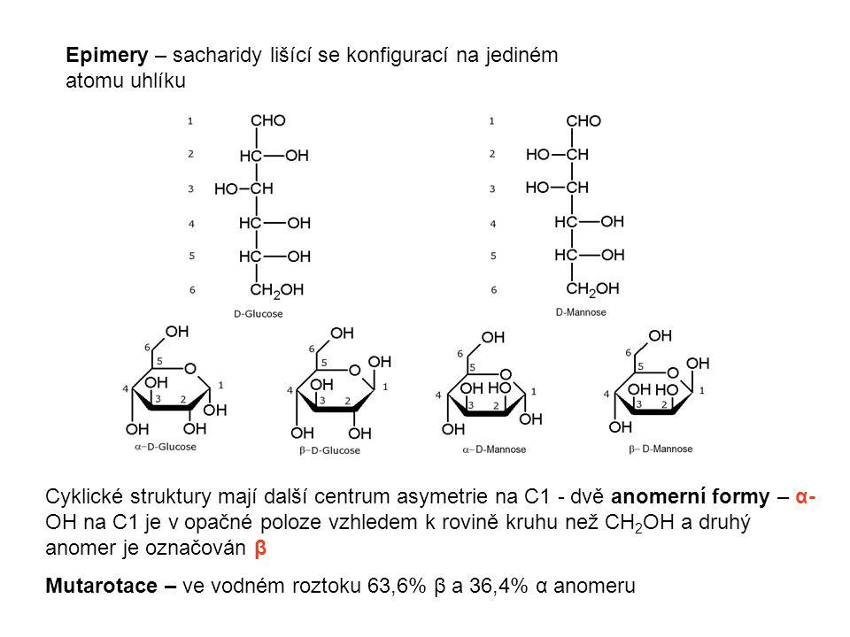 Epimery – sacharidy lišící se konfigurací na jediném atomu uhlíku