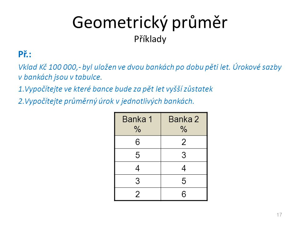 Geometrický průměr Příklady