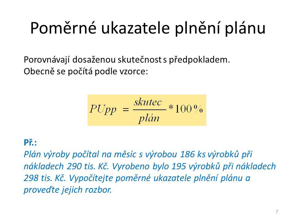 Poměrné ukazatele plnění plánu