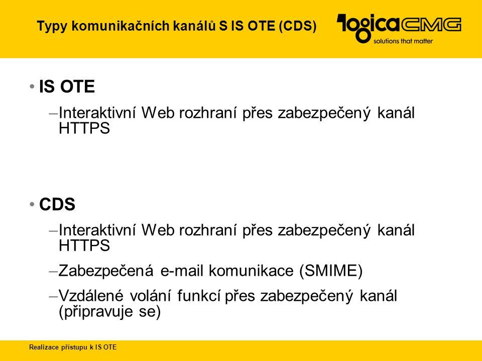 Typy komunikačních kanálů S IS OTE (CDS)
